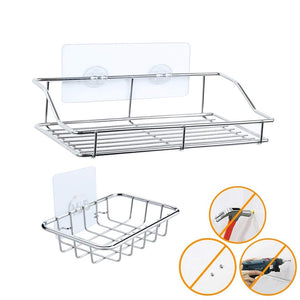 NAIYUE Shower Caddy Adhesive Bathroom Storage Shelf Kitchen Rack Organizers Drain Rack Stand Shoe Holder Easy To Install 19MAY31 - thefashionique