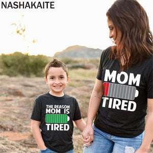 NASHAKAITE Mom and Kids Clothes Energy Charging Short sleeve Black T-shirt For Mommy and me Casual Family matching clothes