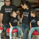 NASHAKAITE Mommy and me T-shirts Letter Print Mini Boss Matching Tops Family Look Baby Girl Boys Sisters Clothes Family Outfits