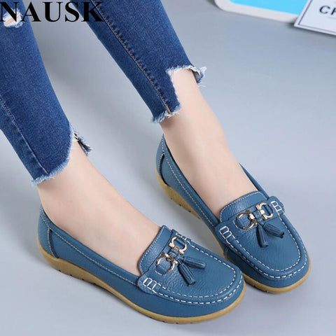 6b6815a22f201 NAUSK 2018 Spring Autumn Shoes Woman Cow Leather Flats Women Slip On Women s  Loafers Female Moccasins