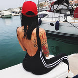 NCLAGEN 2017 Women Fashion Fitness Bodysuit Sides Striped Patchwork Playsuit Bodycon Sleeveless Backless Black Workout Jumpsuit - thefashionique