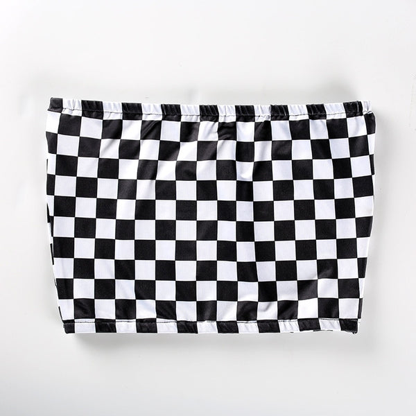 NCLAGEN 2018 New Women Strapless Sexy Crop Top Slash Neck Checkerboard Plaid Casual Wipes Bosom Fitness Black Tube Tank Top - thefashionique