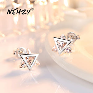 NEHZY 925 Sterling Silver Stud Earrings High Quality Woman Fashion Jewelry New Triangle Crystal Zircon Hot Sale Earrings