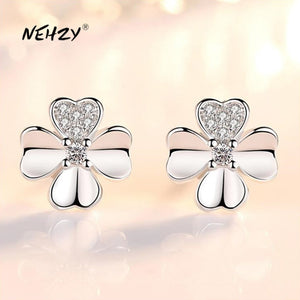 NEHZY 925 Sterling Silver Stud Earrings High Quality Woman Fashion Jewelry Retro Simple Lucky Clover Crystal Zircon Earrings