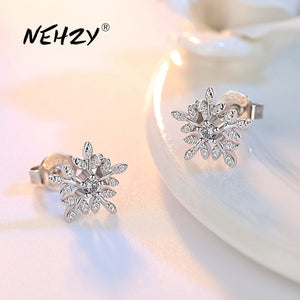 NEHZY 925 Sterling Silver Stud Earrings High Quality Woman Fashion Jewelry Retro Simple Snowflake Leaf Crystal Zircon Earrings