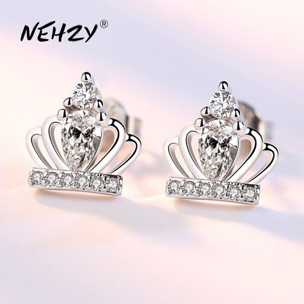NEHZY 925 Sterling Silver Stud Earrings High Quality Woman Fashion Jewelry Simple Crown Super Flash Crystal Zircon Earrings