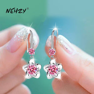 NEHZY 925 sterling silver new women's fashion jewelry pink blue white crystal zircon long tassel flower hook type earrings