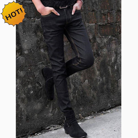NEW 2018 indoor Men Thin Elastic Solid black Jeans Men's Jeans Male Skinny Stretch Black Teenager Hip Hop Denim Jeans Homme