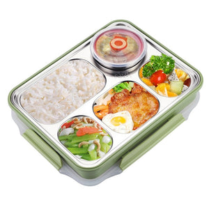 NEW-5 Compartments Lunch Box Stainless Steel Leak-proof large Bento Boxes Soup Container School Dinnerware