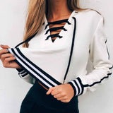 NEW Ladies Womens Girls Plain Black/white Striped Hoodie Blouse Sweatshirt Hooded Lace Up Coat Tops - thefashionique