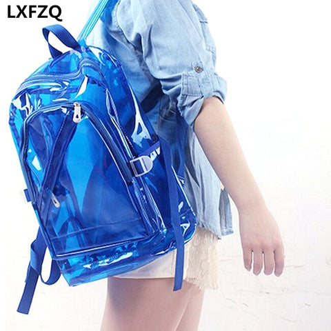 NEW Waterproof Backpack Transparent Clear Plastic for Teenage Girls PVC School Bags Shoulders Bag space backpack notebook - thefashionique
