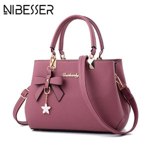 NIBESSER 2018 Elegant Shoulder Bag Women Designer Luxury Handbags Women Bags Plum Bow Sweet Messenger Crossbody Bag for Women - thefashionique