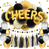 NICROLANDEE  2019 New Year Christmas  Birthday Party Decoration Cheers Foil Balloon Tissue  Lantern Fans Tassel Garland D