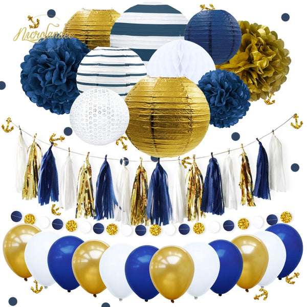 NICROLANDEE 38Pcs/Set New Navy Blue Anchor Happy Birthday Paper Flower PomPom Balloons Party Decoration DIY