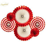 NICROLANDEE 6 pcs/set Wine Red Paper Fans Wedding Happy Birthday Party Home New Decoration Decor DIY