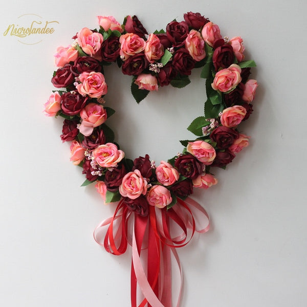NICROLANDEE Fake Silk Rose Artificial Flowers Hanging Wedding Road Wreath Heart Style Festival Supplies Ornament for Home