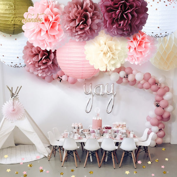 NICROLANDEE New 12Pcs/Set Paper Honeycomb Ball Lantern Flower PomPomWedding Birthday Party Decoration DIY Decor