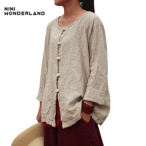 NINI WONDERLAND New spring autumn women's long sleeve round collar blouses & shirts Loose casual cotton linen cardigan plus size