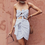 NLW 2019 Sexy Casual Women Dress Beach Summer Dress Vestido Bow Polka Dot Strapless Hollow Out Mini Dress Vestidos - thefashionique