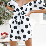 NLW Sweet Polka Dot Women Dress Bow Wrap Dress Off Shoulder Party Summer Elegant White 2019 Puff Dress Vestidos - thefashionique