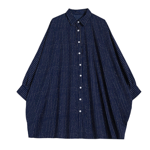 7545ba8a4b353f NYFS 2019 New Style Spring Autumn Women Blouses Single Breasted Stripe  Polyester Shirt Vintage Women Loose