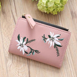 Naivety Embroidery Short Wallet PU Leather Wallets Female Floral Hasp Coin Purse Zipper Bag Card Holders 30S71205 drop shipping - thefashionique