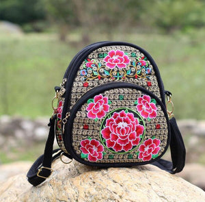 National Crossbody Embroidery Bag Mini Backpack Dual  purpose Embroidery Bag - thefashionique
