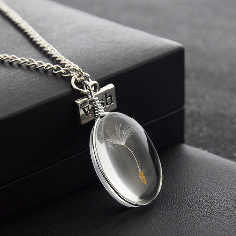 Natural Dandelion Seed Specimen Glass Adhesive Sheet and Wish Tag Pendant Necklace Charm Women Oval Time Gem Necklace - thefashionique