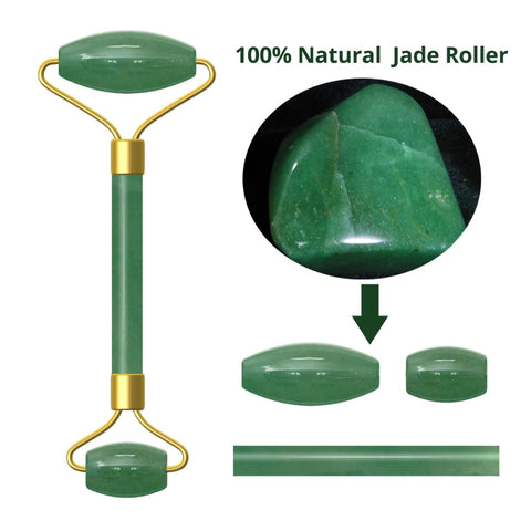 Natural Facial Beauty Massage Tool Jade Roller Stone Face Lifting Tool Real Jade Facial Roller Green Jade Stone Face Slimming - thefashionique