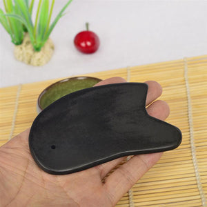 Natural Stone Gua Sha Board Black Buffalo Horn Guasha Healthy Cure Foot Care Hand Body Massage Tool Black - thefashionique