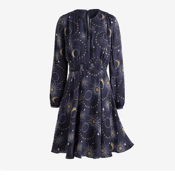 Navy Blue Wome's midi dress Chiffon Stars Printted High Waist Metal Brooch short dresses long-sleeved - thefashionique
