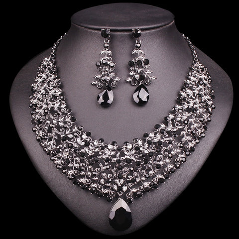Necklace Earring Sets Vintage Bridal Jewelry Sets & More Rhinestone Party Wedding Costume Accessories Decoration Bride Women - thefashionique