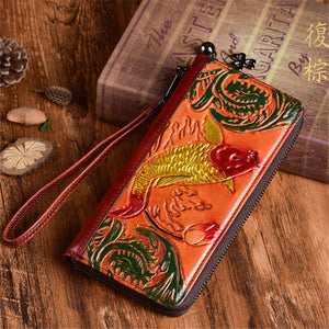 Nesitu Highend Vintage New Green Brown Coffee Fish Pattern Genuine Leather Women Clutch Bag Female Phone Wallets Purse M009