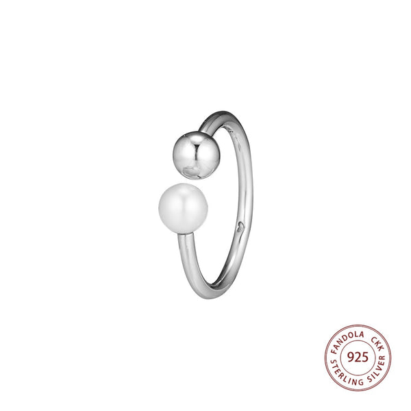 New 100% 925 Sterling Silver Contemporary Pearl Open Rings For Women Wedding Luxury Jewelry Making Promotion - thefashionique