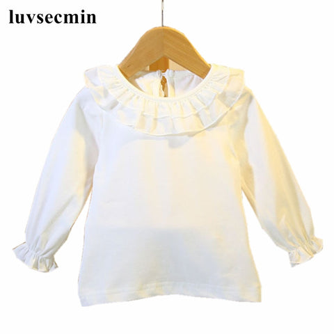 New 2017 Fall Infant Baby Girls Tops And Blouses Little Girls Blouse Shirt Cotton White Long Sleeve Kids Toddler Clothes JW0330S