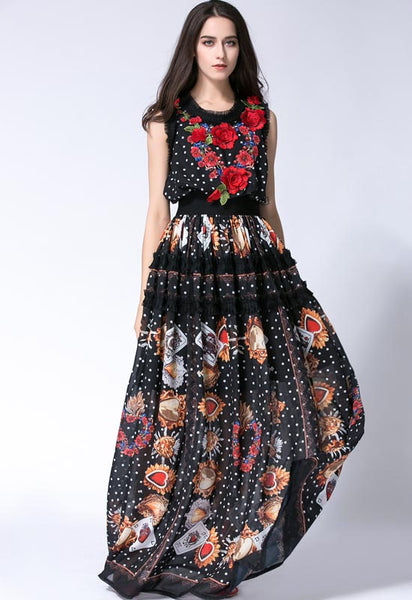 New 2017 Women Floor Length Sleeveless Elegant Rose Flower Print Floral Embroidery Vintage Long Dress Fashion Runway Maxi Dress - thefashionique