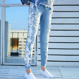 New 2018 Flower Beading Diamond Jeans Women Denim Pants Fashion  Plus Size Trousers Stretch Ripped Jeans A518 - thefashionique