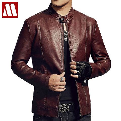 New 2018 Men's Red Leather Jacket Autumn & Winter Slim Fit Pu Moto Coat With Hair Warm Male Fahion Stand Collar Black Outwear