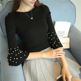 New 2018 Solid Sweater Women Flare Sleeve Pearl Studded Beading Slim Pullover Knitting Autumn Spring C78006 - thefashionique