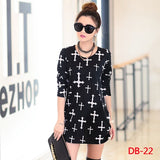 New 2018 autumn winter women Women mini dress long sleeve Loose Casual tunic o-neck dresses tops print  black flower - thefashionique