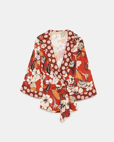 New 2018 floral print Kimono Blouse Blusas women sexy Deep V Neck tops female sashes wrap blouse shirt loose - thefashionique