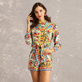 New 2019 Spring Summer Fashion Runway Designer Two Pieces Sets Women Long Sleeve Print Slim Waist Short Blouses + Shorts Suit - thefashionique