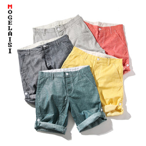 New linen Cotton Shorts Men solid Button Waist Casual Shorts Summer Comfortable Bermuda Shorts Men QT3023-K15