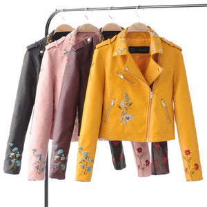 New 2020 Autumn Women Yellow Slim Cool Lady PU Leather Jackets Sweet Female Zipper Faux Embroidery Femme Outwear Coat
