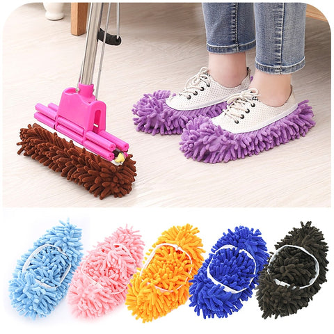 New 5 Colors 1 /2 Pcs Microfiber Dust Mop Slipper House Cleaner Lazy Floor Dusting Cleaning Foot Shoe Cover Dust Mop