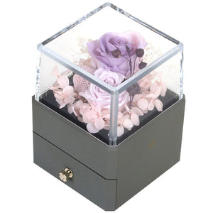 New Acrylic Immortal Rose Flower Packaging Jewelry Earrings Necklace Bracelet Chic Small Drawer Gift Box With LED Light