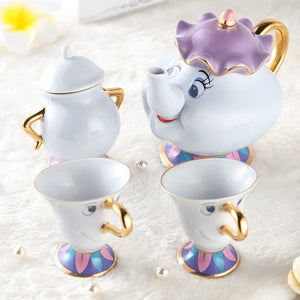 New Arrival Cartoon Beauty And The Beast Teapot Mug Mrs Potts Chip Tea Pot Cup Set with Sugar Pot for friend Gift Free Shipping - thefashionique