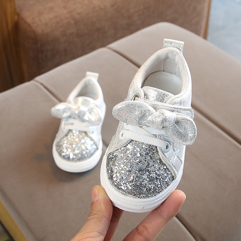 New Arrival Children Shoes with Sequins Child Shoes Girls Enfant Bowknot Spring Autumn Casual Shoes for Kids Size 21-30 - thefashionique