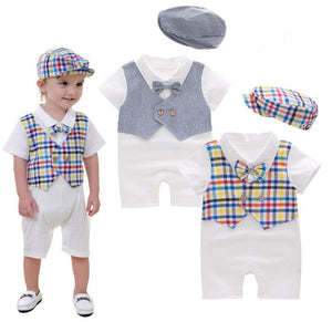 New Arrival Lovely Bowtie Decorated Baby Boys Romper With Hat/ Two false pieces Jumpsuit 3069