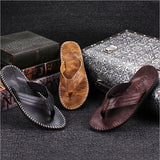 New Arrival Summer Cool Men PU Leather Flip Flops British Style Boardered Beach Sandals Male Slippers - thefashionique